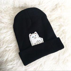 Cat middle finger beanie